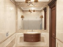 Interior the bathroom in classic style Stock Images