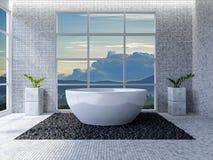 3d toilet interior design Stock Image