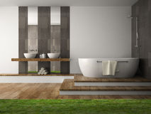 Interior of  bathroom with grass. 3D rendering Stock Photography