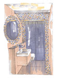 The interior of the bathroom. The modern interior of the bathroom hand drawn sketch interior design Royalty Free Stock Image