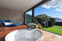 Interior, bathroom with round bathtub Stock Image