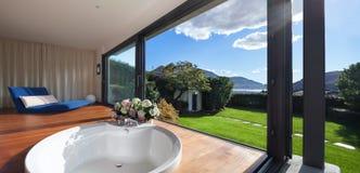 Interior, bathroom with round bathtub Stock Photography