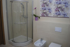 Interior bathroom shower with one door, built-in toilet and bidet. Stock Photography