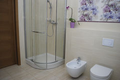 Interior bathroom shower with one door, built-in toilet and bidet. Stock Photo