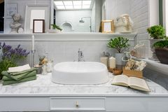 Interior of bathroom with sink basin faucet and mirror. Modern d stock photos