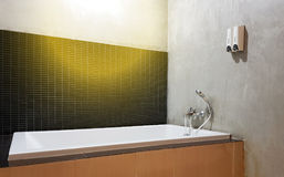 Interior of bathroom with sink basin faucet and mirror. Royalty Free Stock Photos