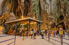 Interior of the Batu Caves Kuala Lumpur,Malaysia. Kuala Lumpur,Malaysia - August 3, 2014: Tourist can seen exploring around the temple within the cave in Batu royalty free stock images