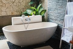 Interior of the beautiful bathroom with stone bathtub Stock Images