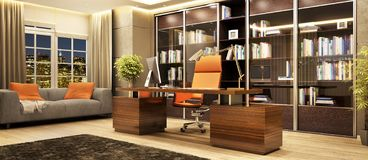 Beautiful director`s office in a modern style. Interior of a beautiful director`s office in a modern style royalty free stock photography