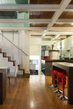 Interior, beautiful loft. Architecture, wide loft with modern furniture, detail Stock Image