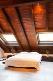 Interior, beautiful loft. Luxurious bedroom Royalty Free Stock Images