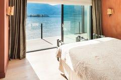 Interior, beautiful modern bedroom Stock Images
