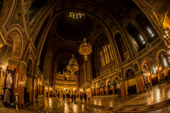 Interior of Beautiful Orthodox Cathedral in Timisoara stock images