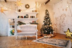 Interior of beautiful room with Christmas decorations stock photos