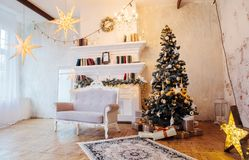 Interior of beautiful room with Christmas decorations royalty free stock image