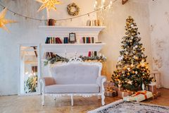 Interior of beautiful room with Christmas decorations stock photography