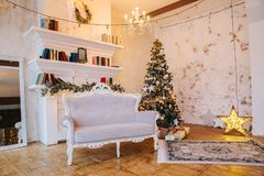 Interior of beautiful room with Christmas decorations royalty free stock images
