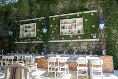 Interior beautiful street cafe with climbing plants. Interior beautiful street cafe with climbing plants Stock Photography