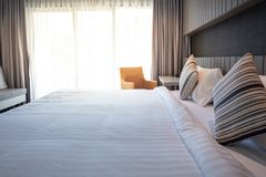 Interior of a bed hotel room. Rooms at the hotel Stock Photo