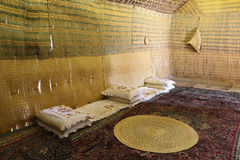 Interior of the Bedouin Tent. In Abu Dhabi, United Arab Emirates royalty free stock photography