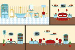Interior bedroom, bathroom, living roominin a classic style complete set of furniture and decorations stock illustration