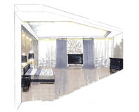The interior of the bedroom. The interior of the bedgroom hand drawn sketch interior design Royalty Free Stock Photo