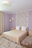 Interior of a bedroom of a double hotel room in light tones Royalty Free Stock Photos