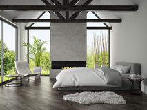 Interior of bedroom with fireplace 3D rendering 4 Stock Photos
