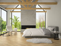 Interior of bedroom with fireplace 3D rendering 2 Stock Photos