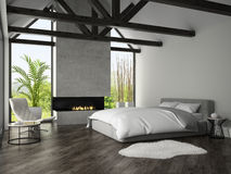 Interior of bedroom with fireplace 3D rendering 3 Stock Images
