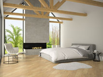 Interior of bedroom with fireplace 3D rendering Stock Image