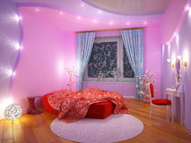 Interior of a bedroom for the girl Royalty Free Stock Photo