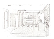 The interior of the bedroom for girl. The modern interior of the children`s room  hand drawn sketch interior design Stock Photography