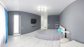 Interior of bedroom. Gray tone. Royalty Free Stock Photography