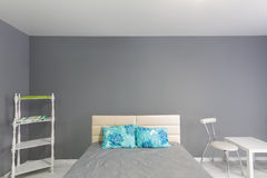 Interior of bedroom. Gray tone. Stock Images