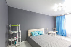 Interior of bedroom. Gray tone. Stock Image