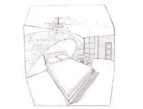 The interior of the bedroom. The modern interior of the bedroom hand drawn sketch interior design Stock Images