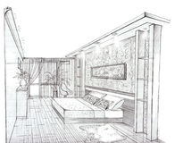 The interior of the bedroom. The modern interior hand drawn sketch interior design Royalty Free Stock Photography