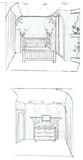 The interior of the bedroom. The modern interior hand drawn sketch interior design Stock Images