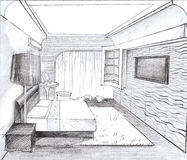The interior of the bedroom. The modern interior hand drawn sketch interior design Stock Photography