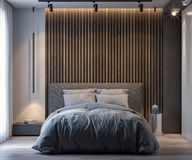 Interior of bedroom in modern style, 3D Rendering.  Royalty Free Stock Photography