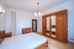 Interior of the bedroom. Moscow, Russia - June 30, 2018: Interior of the bedroom in the luxury prestige apartments Royalty Free Stock Photos