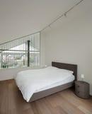 Interior, bedroom with parquet floor Royalty Free Stock Image