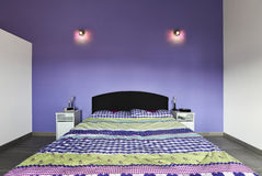 Interior, bedroom with purple wall Stock Image
