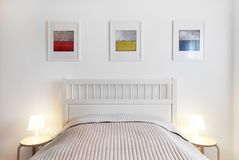 Interior of bedroom. Simple, comfort and stylish. royalty free stock image