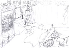 Interior of bedroom sketch Stock Images