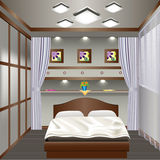 Interior bedroom with a window with curtains Vector Illustration