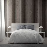 Interior of bedroom with wood planks wall, 3D Rendering stock illustration