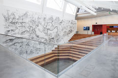 Interior of Berkeley Art Museum and Pacific Film Archive. BERKELEY, CA - JUNE 18, 2016: Located in downtown Berkeley, BAMPFA art exhibits range from Asian Stock Image