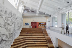 Interior of Berkeley Art Museum and Pacific Film Archive. BERKELEY, CA - JUNE 18, 2016: Located in downtown Berkeley, BAMPFA art exhibits range from Asian Royalty Free Stock Images